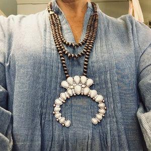 Jewelry - Copper Squash Blossom Navajo Bead Turquoise